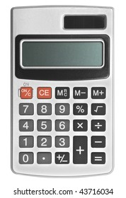 one calculator on the white backgrounds .