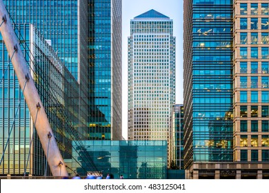 One Canada Square seen from South Quay Footbridge in Canary Wharf, London