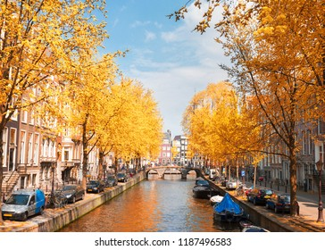 One of canals in Amsterdam, Holland