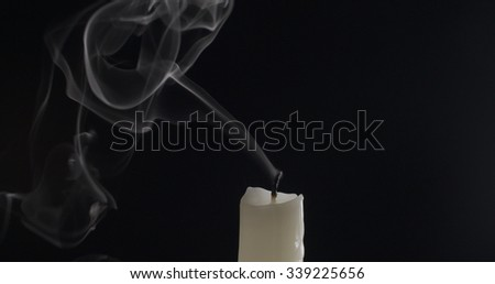 One Candle Smoke Trail On Dark Stock Photo (Edit Now