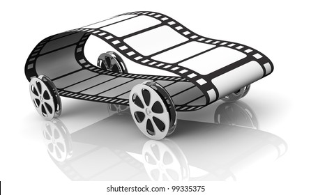 One Car Made With Four Film Reels As Wheels And A Film Strip, Concept Of