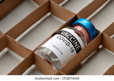 One carton with one Covid 19 vaccine ampoule