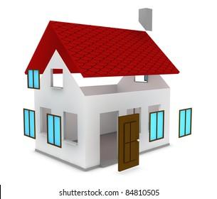 one cartoon house under construction (3d render)