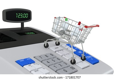 one cash register with a shopping cart (3d render)