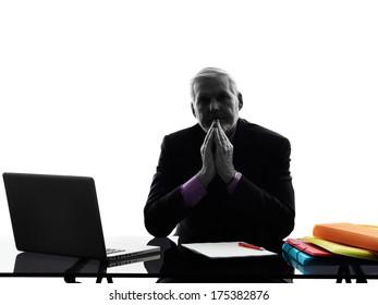 One Caucasian Attentive Senior Business Man Silhouette White Background