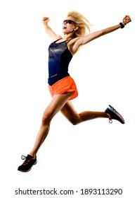 une caucasienne belle femme aux cheveux longs et blonds joggeuse jogging tournage en studio photo isolée sur fond blanc