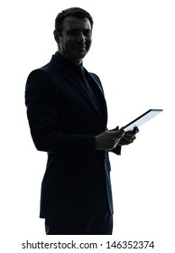 one caucasian business man holding digital tablet   posing portrait  on white background
