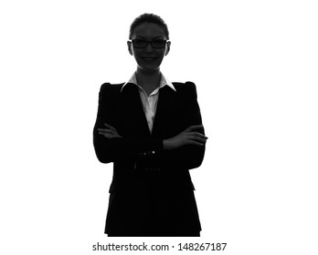 one caucasian business woman  arms crossed portrait in silhouette  on white background