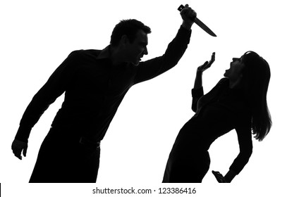 one caucasian couple man killing woman with knife in silhouette studio isolated on white background