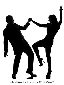 one caucasian couple man and woman dancing rock in studio silhouette isolated on white background