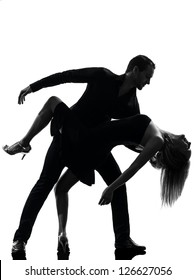 one caucasian couple woman man dancing dancers salsa rock  in silhouette studio isolated on white background