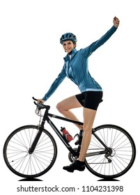one caucasian cyclist woman cycling riding bicycle celebrating happy isolated on white background