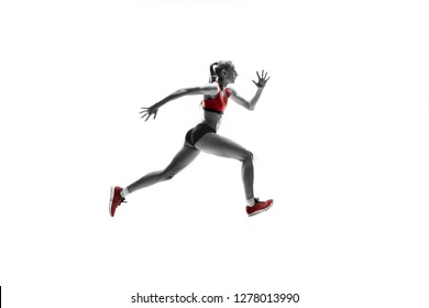 The one caucasian female silhouette of runner running and jumping on white studio background. The sprinter, jogger, exercise, workout, fitness, training, jogging concept.