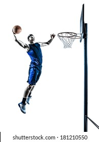 one caucasian man basketball player jumping dunking in silhouette isolated white background