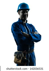 one caucasian man construction worker smiling friendly  silhouette portrait in studio on white background