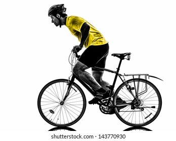 one caucasian man exercising bicycle mountain bike   on white background