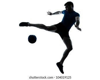 one caucasian man flying kicking playing soccer football player silhouette  in studio isolated on white background