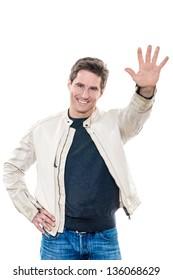 one caucasian man mature handsome portrait saluting high five studio  white background