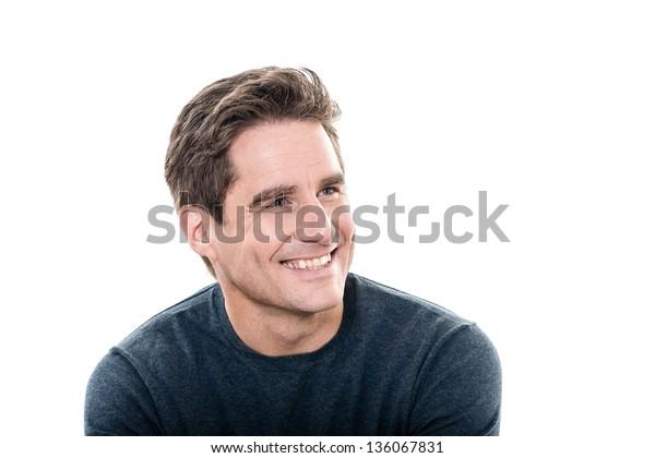 ein kaukasischer Mann reife gut aussehende Mann Zahnseillach-Portrait-Studio auf weißem Hintergrund