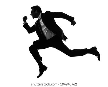 one caucasian man running secret service in silhouette on white background