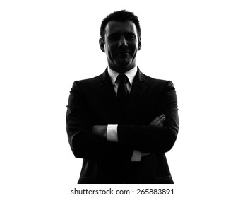 one caucasian man in silhouette on white background
