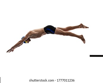 one caucasian man sport swimmer swimming silhouette isolated on white background