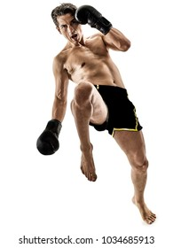 one caucasian Muay Thai kickboxing kickboxer thai boxing man isolated on white background