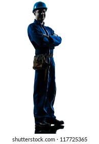 one caucasian repairman worker silhouette in studio on white background