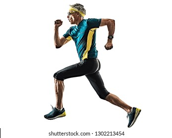 one caucasian senior man running runner jogger jogging  in studio shadow silhouette isolated on white background