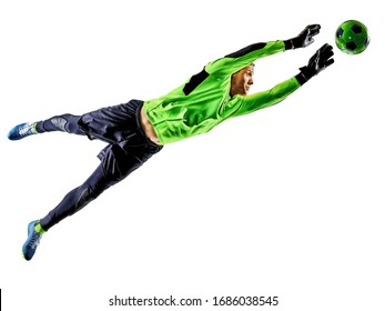 one caucasian soccer player goalkeeper man in studio silhouette shadow isolated on white background