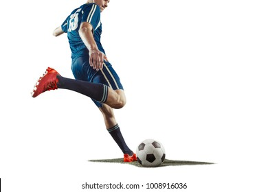 The one caucasian soccer player man with ball isolated on white background