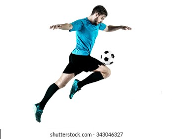 one caucasian Soccer player Man isolated on white backgound