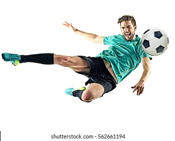one caucasian soccer player man isolated on white background - Shutterstock ID 562661194