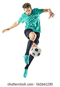one caucasian soccer player man isolated on white background - Shutterstock ID 562661230