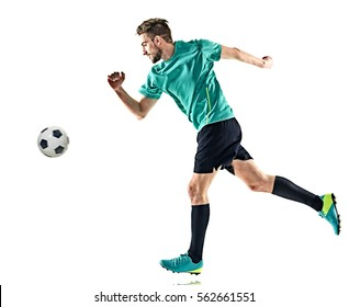 one caucasian soccer player man running isolated on white background