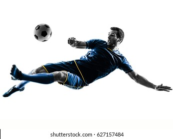 one caucasian soccer player man playing kicking in silhouette isolated on white background - Shutterstock ID 627157484