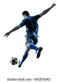 one caucasian soccer player man playing kicking in silhouette isolated on white background - Shutterstock ID 691876342