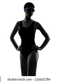 one caucasian woman competition swimmer portrait  in silhouette studio isolated on white background