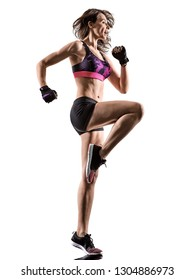one caucasian woman exercising cardio boxing workout fitness exercise aerobics silhouette isolated on white background