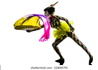 one caucasian woman harlequin circus dancer performer  in silhouette studio isolated on white background