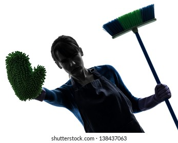 one caucasian woman maid cleaning brooming  stop gesture in silhouette studio isolated on white background