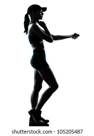 one caucasian woman runner jogger in silhouette studio isolated on white background