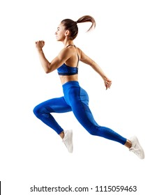 one caucasian woman runner jogger running in studio isolated on white background