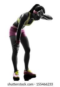 one caucasian woman runner running tired breathless  in silhouette on white background