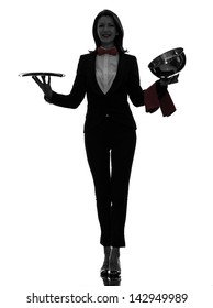 one caucasian woman waiter butler opening catering dome in silhouette  on white background