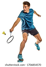 one caucasian youg Badminton player man in studio isolated on white background