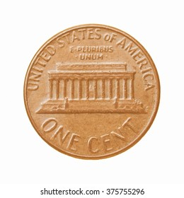 One Cent coin isolated over a white background vintage