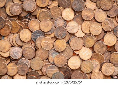 One Cent Pennies, United States Currency, Close