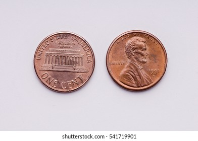 One cent of US dollar coin