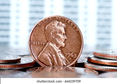 One cent US president Lincoln coin closeup